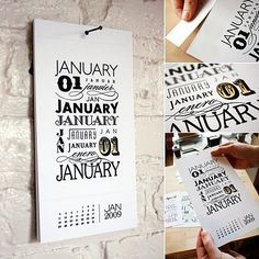 cool calendar with typography
