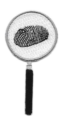 Mystery - Magnifying Glass - Finger Print - Clue - Embroidered Iron On Patch