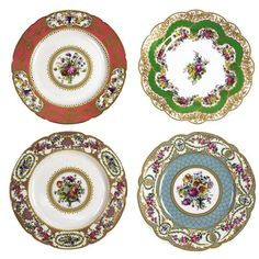 miniatures ANDREA by SADEK SEVRES PORCELAIN DINNER PLATES SET OF 4