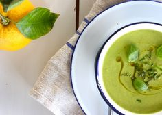 Spring pea, mint, courgette and avocado soup