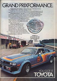 Covers a Toyota Celica GT Fastback Pace car that was used at Watkins Glen Raceway in 1977 in the USA. Toyota Celica Gt, Toyota Cars, Toyota Corolla, Toyota Usa, Classic Japanese Cars, Classic Cars, Vintage Japanese, Car Brochure, Japan Cars