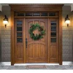 Wood Front Doors, Front Door Entrance, Exterior Front Doors, Front Door Colors, Exterior House Colors, Farmhouse Front Doors, Colonial Front Door, Front Door Design Wood, Front Porch