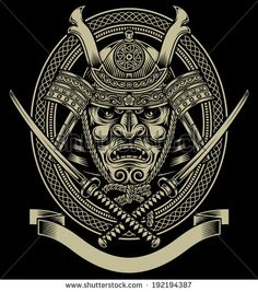 Samurai Warrior With Katana Sword - stock vector