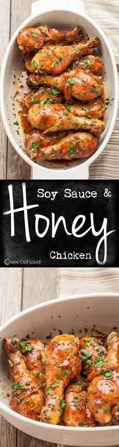 Baked Honey Soy Chicken Super easy, fork-tender, healthy, and succulent. Delicious weeknight dinner the family will love. It's always a hit every time. Turkey Recipes, Chicken Recipes, Dinner Recipes, Baked Chicken, Kid Recipes, Recipe Chicken, Lunch Recipes, Honey Soy Chicken, Healthy Recipes