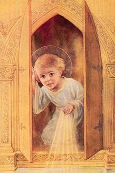 Mini Holy Cards-Child Jesus In Tabernacle Catholic Prayers, Catholic Art, Catholic Saints, Religious Art, Roman Catholic, Religious Pictures, Jesus Pictures, Saint Esprit, Mary And Jesus
