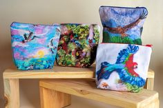 Printed Zip Pouches designed by Eve Marshall
