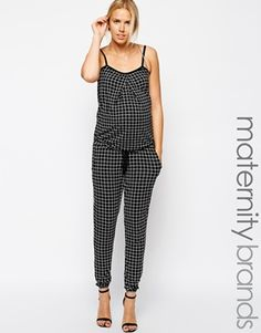 Mamalicious Grid Print Strappy Jumpsuit