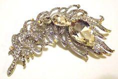 Bold Clear AB Swarovski Crystal Bridal Feather Brooch Pin