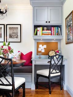 small office space in kitchen corner