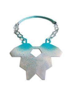 "Linnéa Eriksson -  necklace - ""the Burst colors collection - Steel, silver, spray paint"