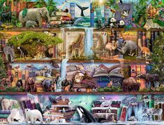 Challenge yourself with a 1000+ piece puzzle from Ravensburger!With a wide range of images and designs to choose from, including favorite characters, adorable animals, fantasy images, landscapes, monuments, and more, we've got the perfect puzzle for every puzzler. Assemble the pieces to get a close-up look as four library shelves come to life with wild animals and bits and pieces of their environments. Ravensburger 2000 piece puzzles are create a challenging and satisfying experience from…