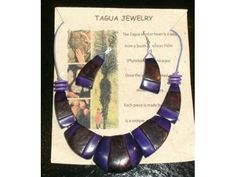 Purple Amazon - Handmade, one of a kind Tagua Nut Jewelry (Palm Ivory) Necklace & Earring Set of 2 - Scentsations