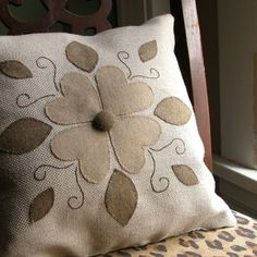 felt appliqued pillow