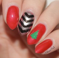 This beautiful manicure by @naturenail is using our Christmas Tree Nail Decals & Single Chevron Nail Vinyls found at snailvinyls.com