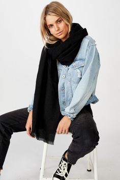 Mya Mid Weight Scarf Everyday Outfits, Woven Fabric, Denim, Composition, Jackets, Seasons, Black, Products, Fashion