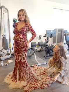 A look into Marchesa's Georgina Chapman dressing model and mom-to-be Chrissy Teigen for the Oscars red carpet: