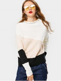Color Block Mock Neck Sweater - BLACK ONE SIZE