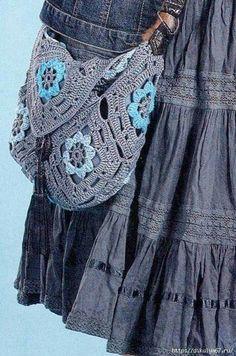 Crochet bag. Boho Beautiful, Crochet Tote, Diy Fashion, Crochet Patterns, Tote Bag, Purses, Denim, Knitting, Jackets