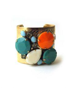 manchette cabochon bohme de crateurs accessoires bracelets manchettes mode dco laiton dor bleu canard verre de bijoux