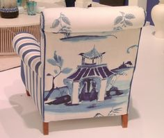 Home Accents Fabric Cachepot Our topic today is the wonderful pairing of a chair with a grand Chinoiserie fabric. Chair Upholstery, Upholstered Chairs, Chinoiserie Fabric, Willow Pattern, Asian Decor, Painted Furniture, Furniture Design, Plywood Furniture, Chair Design