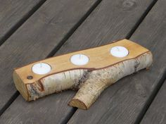 Wooden tea light holder by Woodur on Etsy