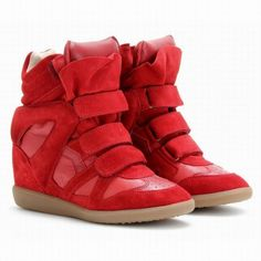 Isabel Marant Suede Wedge Sneakers Beckett Red