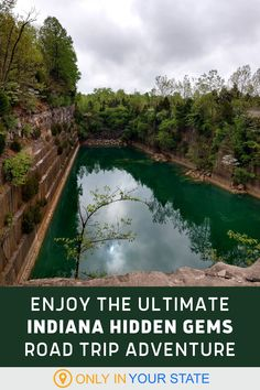 This incredible hidden gems road trip will take you to the best little-known places in Indiana. Discover a beautiful grotto, limestone quarry, abandoned waterslide, unique ruins, and more. Limestone Quarry, Best Bucket List, Road Trip Adventure, Hidden Beach, Swimming Holes, Haunted Places, Ghost Towns, Natural Wonders, Small Towns