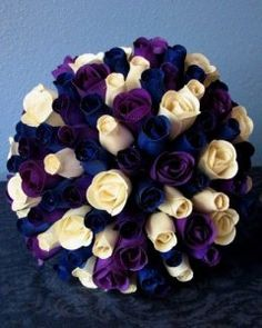 Wooden Roses from Camelot: A purple and navy wedding.Mine will look like this except no purple and add yellow Purple And Silver Wedding, Purple Wedding Flowers, Wedding Colors, Cream Wedding, Fall Wedding, Our Wedding, Wedding Ideas, Wedding Stuff, Wedding Ceremony