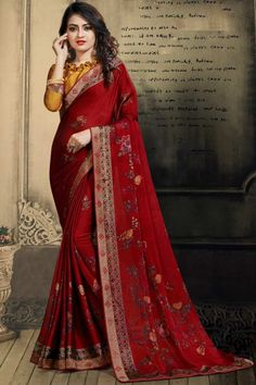 Deep Red chiffon saree with turmeric yellow chiffon blouse. Embellished with stone work embroidery. Saree with Quarter Sleeve. It comes with unstitched blouse. Red Chiffon, Chiffon Saree, New Saree Designs, Blouse Designs, Party Sarees, Casual Saree, Latest Sarees, Traditional Sarees, Deep Red Color