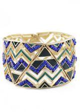 Blue Bead Gold Triangle Bracelet