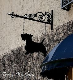 Wrought iron Scottie hanging from an #antiques shop in #CollegePark , #Orlando.