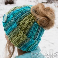 Ravelry: Ribbed Bun Hat by Naztazia
