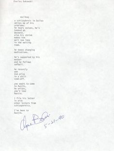 bukowski poem a smile to remember essay Essay about charles bukowski: an unlikely hero 705 words 3 pages show more  bukowski poem - a smile to remember essay.