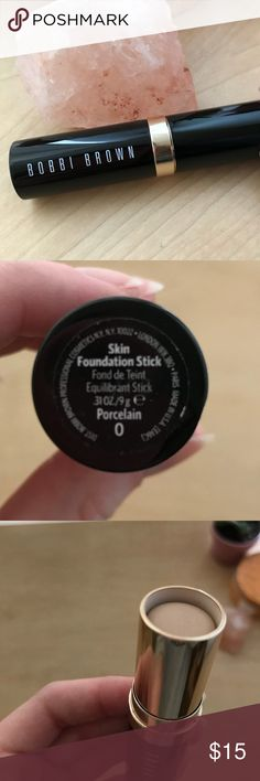 Bobbi brown foundation stick Bobbi brown foundation stick in 0 porcelain  Barely used as seen in last picture. Properly sanitized. Sephora Makeup Foundation