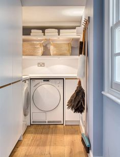 7 Laundry Room Design Ideas To Incorporate Into Your Own Laundry // Open shelving to keep everything within reach Pink Laundry Rooms, Laundry Room Layouts, Laundry Room Organization, Laundry Room Design, Utility Room Designs, Laundry Room Inspiration, Design Your Dream House, House Rooms, Home