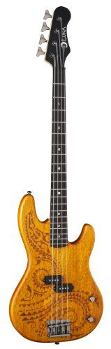 Luna TAT34 Tattoo Etched Mahogany Body Long Scale Electric Bass Guitar Rosewood Fretboard Matte -- You can find out more details at the link of the image.Note:It is affiliate link to Amazon.