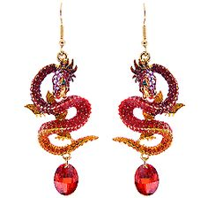 Butler and Wilson Red Crystal Enamel Flying Dragon Earrings NEW