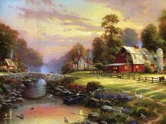 Sunset at Riverbrook Farm.....Thomas Kinkade...instock at the HutStuff Gift & Gallery
