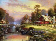 Sunset at Riverbrook Farm.....Thomas Kinkade...instock at the HutStuff Gift & Gallery