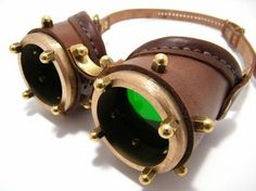 Steampunk goggles made with solid brass and transparent green lenses