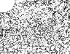 Folk Art Inspired Lineart Doodle For You To Color by KathyAhrens on deviantart.com [spam check ok ;) Mo]