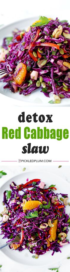 Detox Red Cabbage Slaw - Make yourself a sunny and breezy detox red cabbage slaw for dinner tonight. This beach body friendly salad will keep you slim and healthy all summer long! Summer salads | healthy salad recipe | coleslaw | vegan | vegetarian | gluten free | pickledplum.com