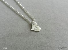 Sterling silver Heart Necklace Hand stamped with your by 3CSC
