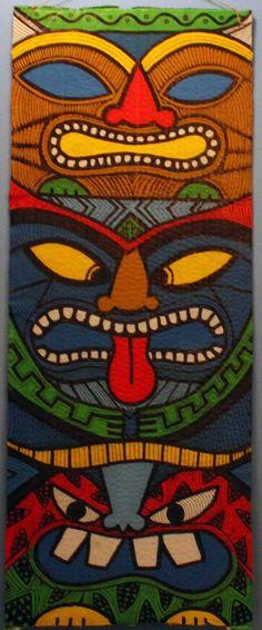 Another painted totem pole - tiki style … Totems, Tiki Hut, Tiki Tiki, Tiki Totem, Totem Pole Art, Tiki Faces, Tiki Party, Luau Party, Tiki Mask