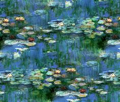 Claude Monet ~Water Lilies ~1916   ~ by PeacoquetteDesigns on Spoonflower ~ bespoke fabric, wallpaper, wall decals & gift wrap ~ Join PD  ~ https://www.facebook.com/PeacoquetteDesigns #Spoonflower #Peacoquette