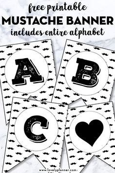 Free Printable Mustache Alphabet Banner including all letters and numbers to customize and decorate your next event! Perfect for baby showers, birthdays, fathers day! Free Printable Banner Letters, Free Banner, Birthday Banner Template, Birthday Letters, Happy Birthday Superhero, Mustache Birthday, Free Birthday, Letters And Numbers, Free Printables