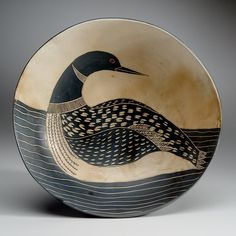 Melissa Green's painted ceramic pots and bowls are made from white earthenware clay in Deer Isle. Ceramic Pots, Ceramic Birds, Ceramic Decor, Ceramic Pottery, Pottery Art, Earthenware Clay, Sgraffito, China Painting, Ceramic Painting