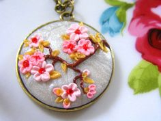 Valentines Pink  Necklace, Polymer Clay Flower Necklace, Cherry Blossom Necklace, Vintage Oriental Style, Polymer Clay Jewelry. £20.00, via Etsy.