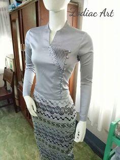 Traditional Dresses Designs, Traditional Fashion, Traditional Outfits, Batik Fashion, Skirt Fashion, Fashion Dresses, Myanmar Dress Design, Myanmar Traditional Dress, Sunday Dress