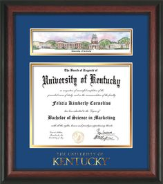 Diy diploma frames google search home decorating ideas university of kentucky diploma frame rosewood wembossed school wordmark only campus collage royal blue on gold mat solutioingenieria Image collections